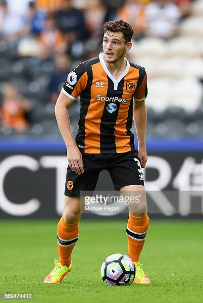 Andrew Robertson of Hull City in action during the Premier League match between Hull City and Leicester City at KCOM Stadium on August 13 2016 in...