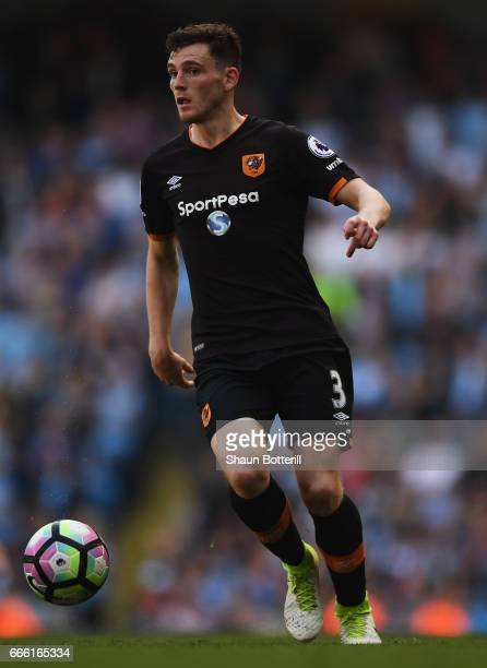 Andrew Robertson of Hull City in action during the Premier League match between Manchester City and Hull City at Etihad Stadium on April 8 2017 in...