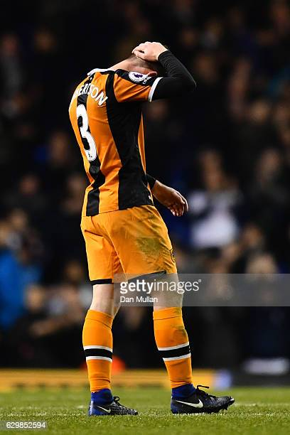 Andrew Robertson of Hull City is dejected after the final whistle during the Premier League match between Tottenham Hotspur and Hull City at White...