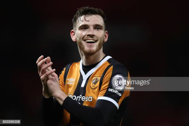 Andrew Robertson of Hull City smiles after the Premier League match between Manchester United and Hull City at Old Trafford on February 1 2017 in...