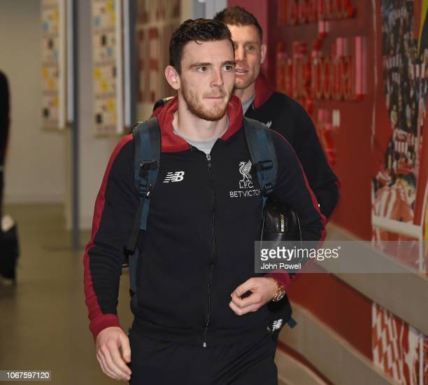Andrew Robertson of Liverpool arrives for the Premier League match between Liverpool FC and Everton FC at Anfield on December 2 2018 in Liverpool...