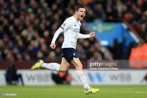 Andrew Robertson of Liverpool celebrates after scoring their 1st goal during the Premier League match between Aston Villa and Liverpool FC at Villa...