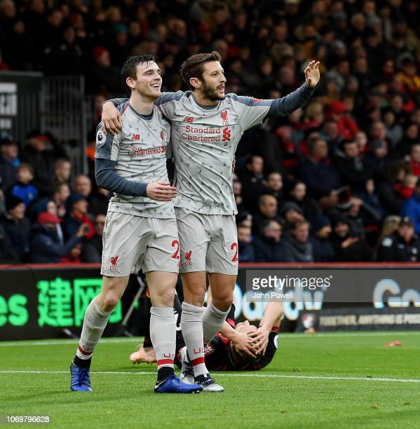 Andrew Robertson of Liverpool celebrates Steve Cook's own goal during the Premier League match between AFC Bournemouth and Liverpool FC at Vitality...