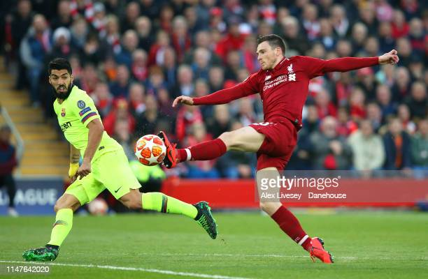 Andrew Robertson of Liverpool cuts out a pass to Luis Suarez of Barcelona during the UEFA Champions League Semi Final second leg match between...