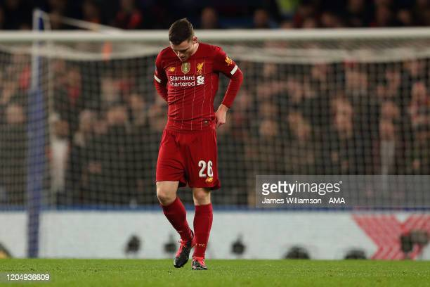 Andrew Robertson of Liverpool dejected after Willian of Chelsea scored a goal to make it 1-0 during the FA Cup Fifth Round match between Chelsea FC...