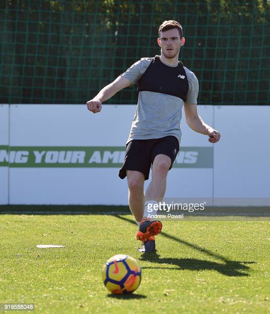 Andrew Robertson of Liverpool during a training session at Marbella Football Center on February 17 2018 in Marbella Spain
