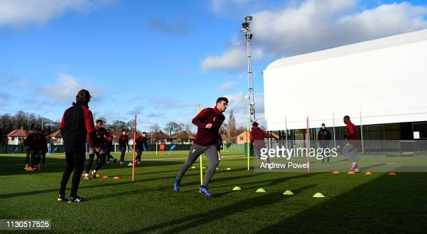 Andrew Robertson of Liverpool during a training session at Melwood training ground on February 18 2019 in Liverpool England