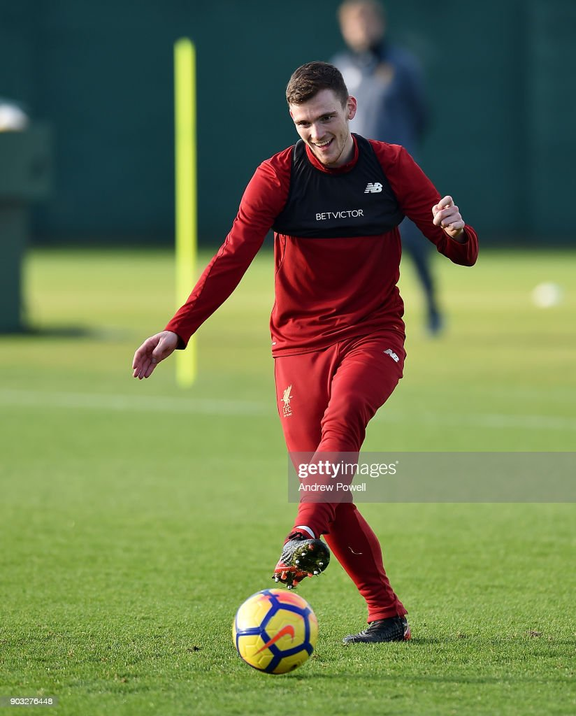 Andrew Robertson of Liverpool during a training session at Melwood Training Ground on January 10, 2018 in Liverpool, England.