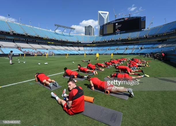 Andrew Robertson of Liverpool during a training session at the Bank of America Stadium on July 21 2018 in Charlotte North Carolina