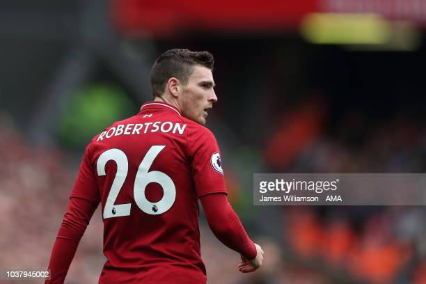 Andrew Robertson of Liverpool during the Premier League match between Liverpool FC and Southampton FC at Anfield on September 22 2018 in Liverpool...