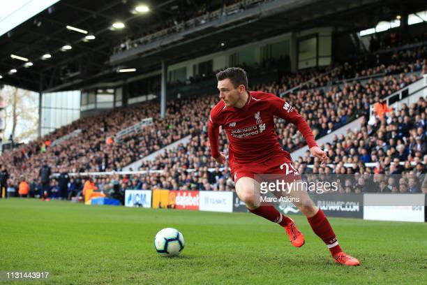 Andrew Robertson of Liverpool during the Premier League match between Fulham FC and Liverpool FC at Craven Cottage on March 17 2019 in London United...