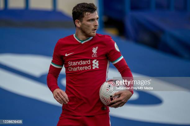 Andrew Robertson of Liverpool during the Premier League match between Chelsea and Liverpool at Stamford Bridge on September 20 2020 in London United...