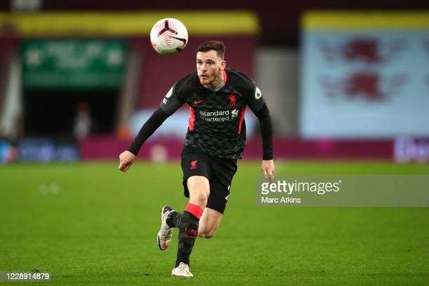 Andrew Robertson of Liverpool during the Premier League match between Aston Villa and Liverpool at Villa Park on October 4, 2020 in Birmingham,...