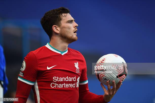 Andrew Robertson of Liverpool during the Premier League match between Chelsea and Liverpool at Stamford Bridge on September 20 2020 in London England
