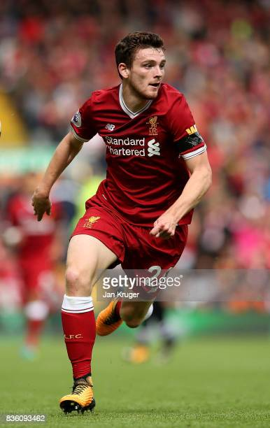 Andrew Robertson of Liverpool during the Premier League match between Liverpool and Crystal Palace at Anfield on August 19 2017 in Liverpool England