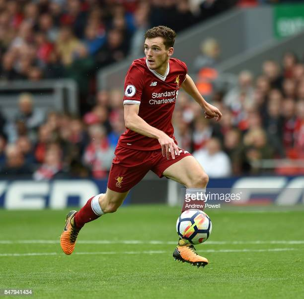 Andrew Robertson of Liverpool during the Premier League match between Liverpool and Burnley at Anfield on September 16 2017 in Liverpool England