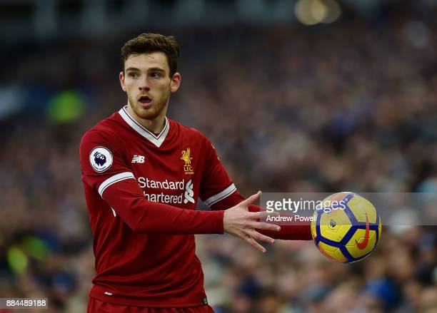 Andrew Robertson of Liverpool during the Premier League match between Brighton and Hove Albion and Liverpool at Amex Stadium on December 2 2017 in...