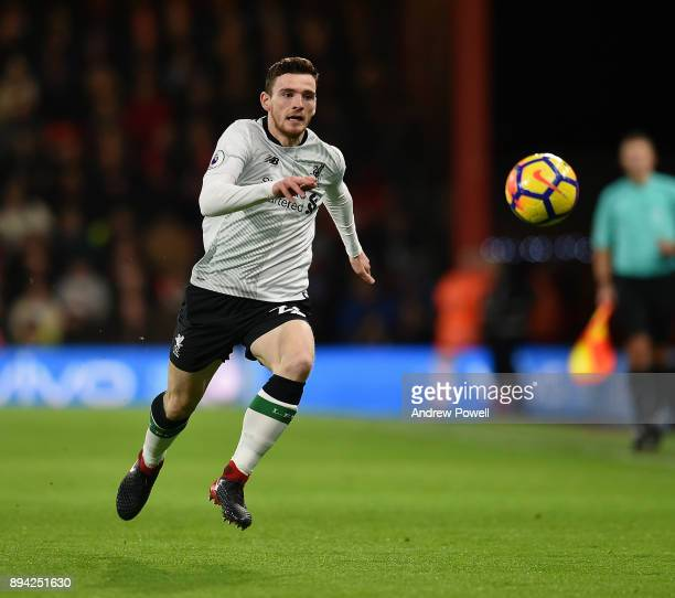 Andrew Robertson of Liverpool during the Premier League match between AFC Bournemouth and Liverpool at Vitality Stadium on December 17 2017 in...
