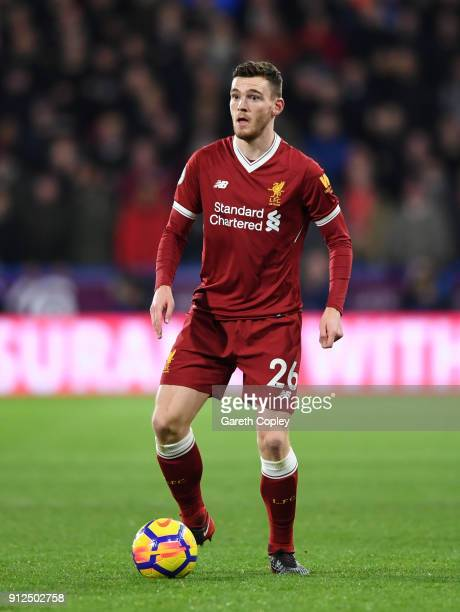 Andrew Robertson of Liverpool during the Premier League match between Huddersfield Town and Liverpool at John Smith's Stadium on January 30 2018 in...