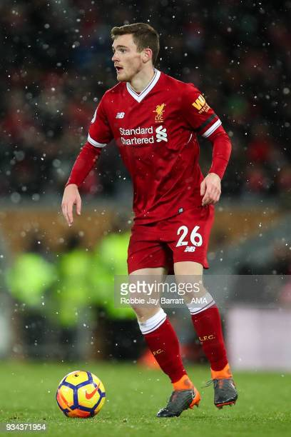Andrew Robertson of Liverpool during the Premier League match between Liverpool and Watford at Anfield on March 17 2018 in Liverpool England