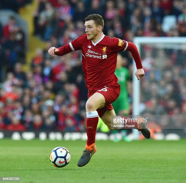 Andrew Robertson of Liverpool during the Premier League match between Liverpool and AFC Bournemouth at Anfield on April 14 2018 in Liverpool England