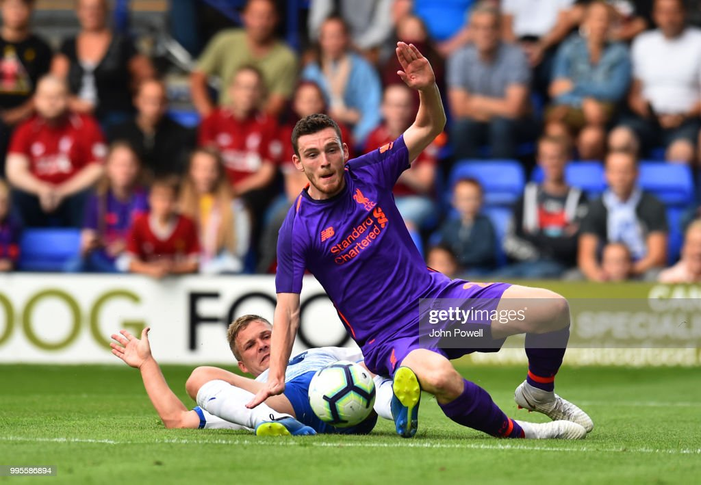 Andrew Robertson of Liverpool during the pre-season friendly match between Tranmere Rovers and Liverpool at Prenton Park on July 10, 2018 in Birkenhead, England.
