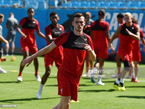 Andrew Robertson of Liverpool during the training session at the Bank of America Stadium on July 21 2018 in Charlotte North Carolina