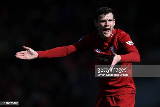 Andrew Robertson of Liverpool gestures during the Premier League match between Liverpool and Burnley at Anfield on March 10 2019 in Liverpool United...