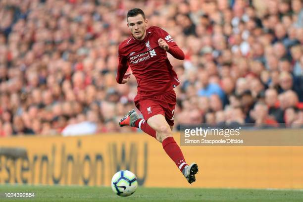 Andrew Robertson of Liverpool in action during the Premier League match between Liverpool and Brighton Hove Albion at Anfield on August 25 2018 in...