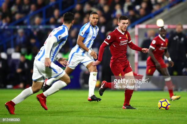 Andrew Robertson of Liverpool in action during the Premier League match between Huddersfield Town and Liverpool at John Smith's Stadium on January 30...