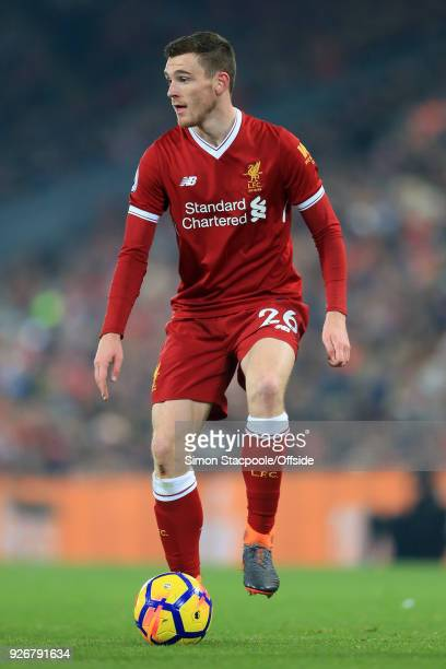 Andrew Robertson of Liverpool in action during the Premier League match between Liverpool and Newcastle United at Anfield on March 3 2018 in...