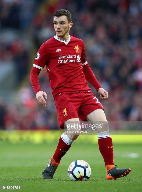 Andrew Robertson of Liverpool in action during the Premier League match between Liverpool and AFC Bournemouth at Anfield on April 14 2018 in...