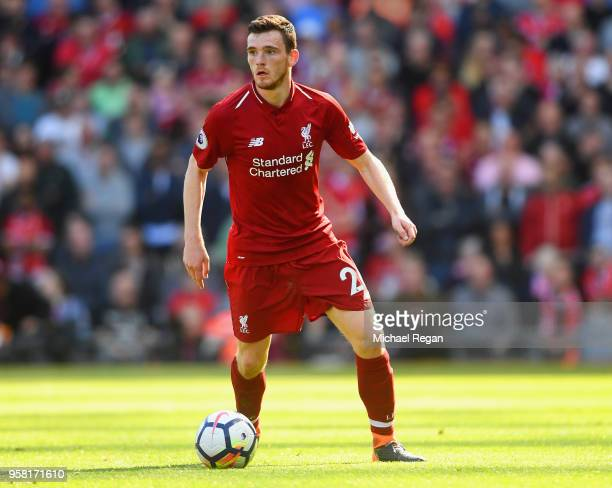 Andrew Robertson of Liverpool in action during the Premier League match between Liverpool and Brighton and Hove Albion at Anfield on May 13 2018 in...