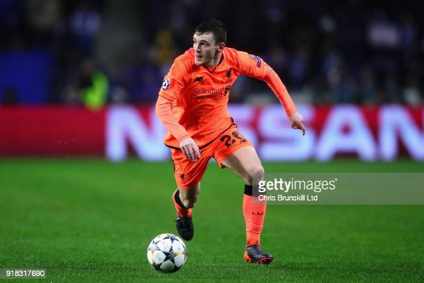 Andrew Robertson of Liverpool in action during the UEFA Champions League Round of 16 First Leg match between FC Porto and Liverpool at Estadio do...