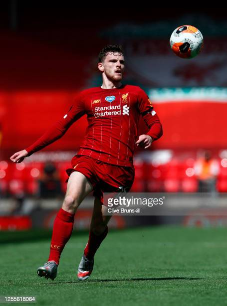 Andrew Robertson of Liverpool in action with the ball during the Premier League match between Liverpool FC and Burnley FC at Anfield on July 11 2020...
