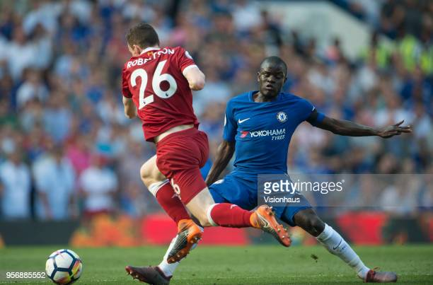Andrew Robertson of Liverpool is tackled by N'Golo Kanté of Chelsea during the Premier League match between Chelsea and Liverpool at Stamford Bridge...