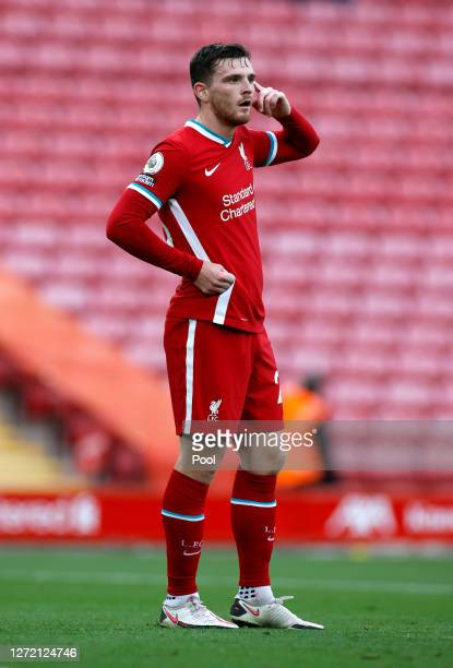 Andrew Robertson of Liverpool looks on during the Premier League match between Liverpool and Leeds United at Anfield on September 12 2020 in...
