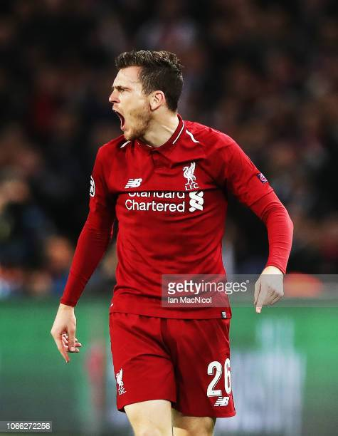 Andrew Robertson of Liverpool reacts during the Group C match of the UEFA Champions League between Paris SaintGermain and Liverpool at Parc des...