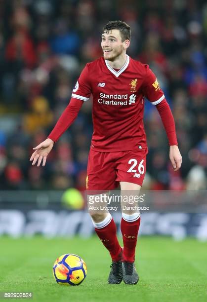 Andrew Robertson of Liverpool runs with the ball during the Premier League match between Liverpool and West Bromwich Albion at Anfield on December 13...
