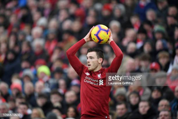 Andrew Robertson of Liverpool takes a throwin during the Premier League match between Liverpool FC and Crystal Palace at Anfield on January 19 2019...