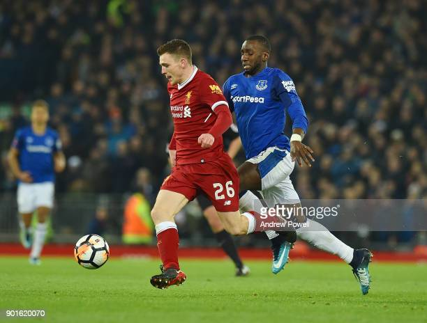 Andrew Robertson of Liverpool with Yannick Bolasie of Everton during The Emirates FA Cup Third Round match between Liverpool and Everton at Anfield...
