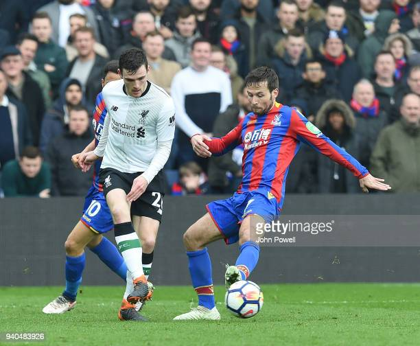 Andrew Robertson of Liverpool with Yohan Cabaye of Crystal Palace during the Premier League match between Crystal Palace and Liverpool at Selhurst...
