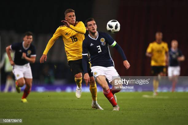 Andrew Robertson of Scotland battles for the ball with Thorgan Hazard of Belgium during the International Friendly match between Scotland and Belgium...