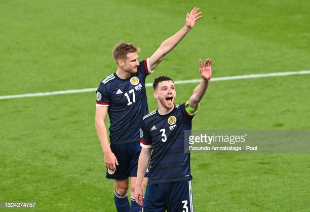 Andrew Robertson of Scotland celebrates towards the fans after the UEFA Euro 2020 Championship Group D match between England and Scotland at Wembley...