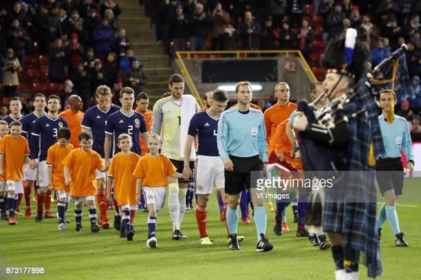 Andrew Robertson of Scotland Christophe Berra of Scotland Ryan Jack of Scotland goalkeeper Craig Gordon of Scotland Kieran Tierney of Scotland during...