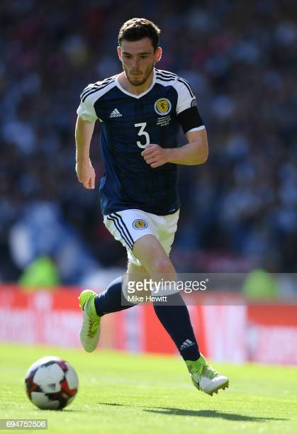 Andrew Robertson of Scotland in action during the FIFA 2018 World Cup Qualifier between Scotland and England at Hampden Park National Stadium on June...