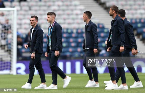 Andrew Robertson of Scotland inspects the pitch with team mates prior to the UEFA Euro 2020 Championship Group D match between Scotland v Czech...