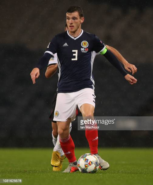 Andrew Robertson of Scotland is seen during the UEFA Nations League C group one match between Scotland and Albania at Hampden Park on September 10...