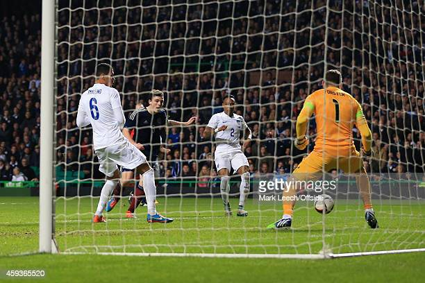 Andrew Robertson of Scotland scores their 1st goal during the International Friendly match between Scotland and England at Celtic Park on November 18...
