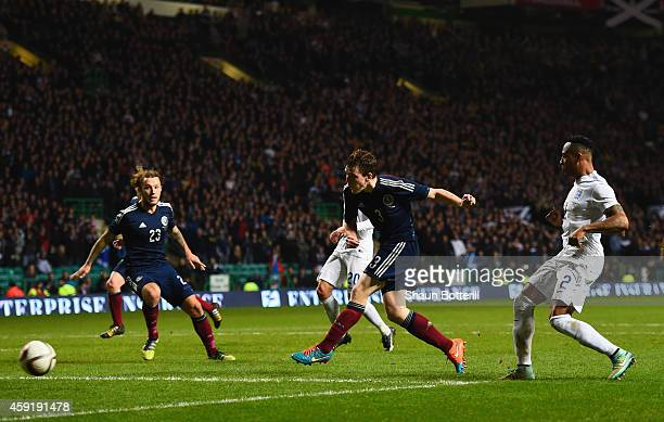 Andrew Robertson of Scotland scores theit first goal during the International Friendly between Scotland and England at Celtic Park Stadium on...